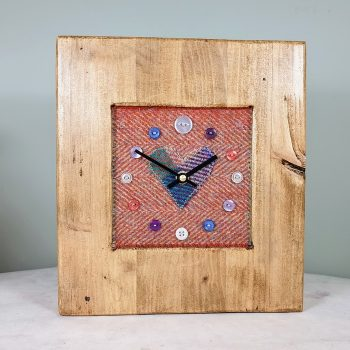 RUSTIC WOODEN CLOCK WITH HARRIS TWEED FACE RUSTHERRH