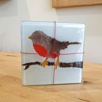 SET OF 4 FUSED GLASS COASTERS ROBINS