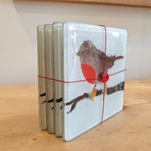 SET OF 4 FUSED GLASS COASTERS ROBINS  DETAIL