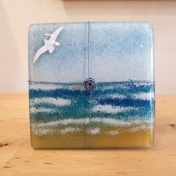 SET OF 4 GLASS COASTERS BIRDS BY THE BEACH