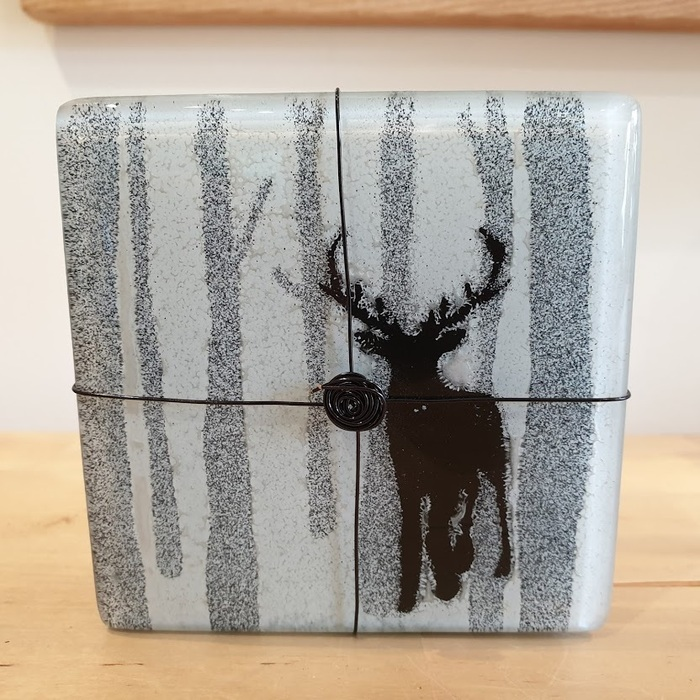 SET OF FOUR FUSED GLASS COASTERS STAG IN THE FOREST