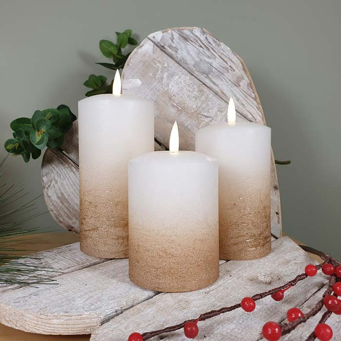 Set Of 3 Led Flickering Candles Bronze Ombre