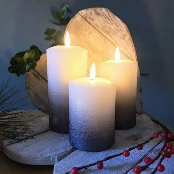 Set Of 3 Led Flickering Candles Grey Ombre