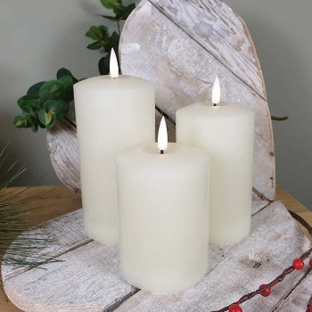 Set Of 3 Led Flickering Candles Natural