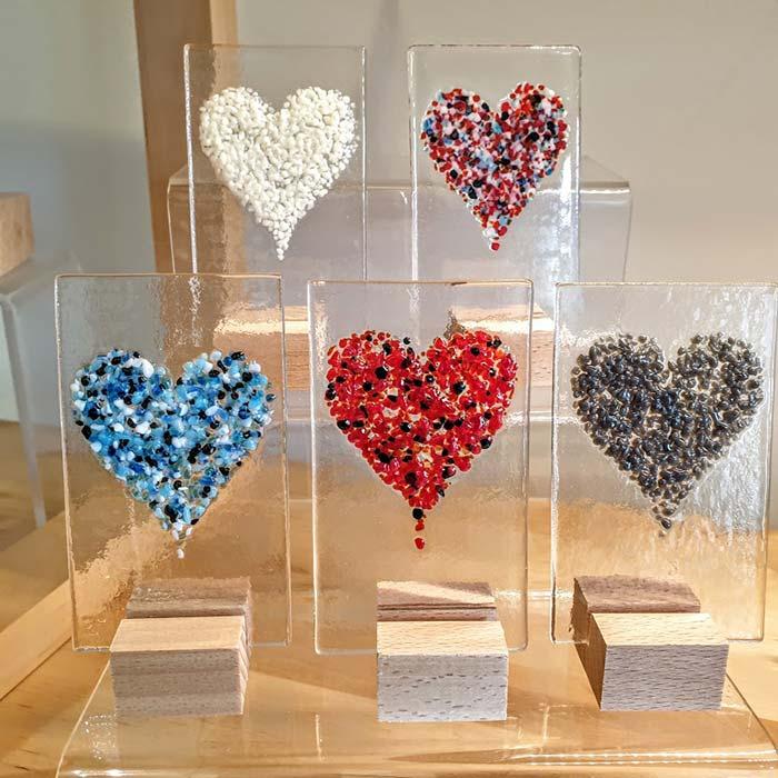 Small Glass Heart Panels