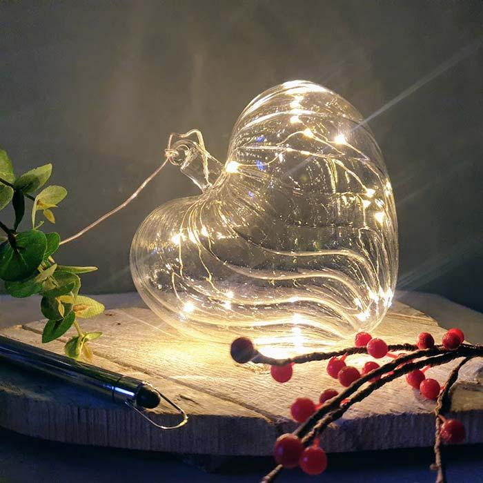 Large Glass Led Heart