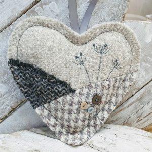 EMBROIDERED HARRIS TWEED HEART,