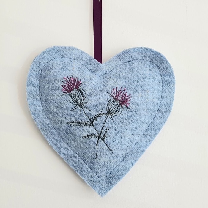 EMBROIDERED HARRIS TWEED LAVENDER HEART