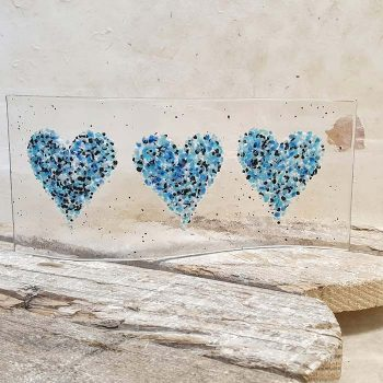 Fused Glass Heart Wave Stand