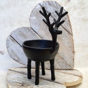 CAST METAL STAG BOWL DETAIL