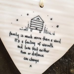 FAMILY IS MUCH MORE IMPORTANT THAN A WORD PORCELAIN HEART DETAIL