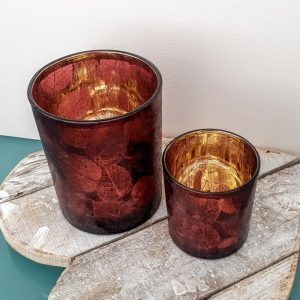 GLASS TEA LIGHT HOLDERS LEAF DESIGN