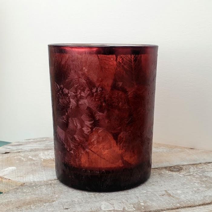 LARGE GLASS TEA LIGHT HOLDER LEAF DESIGN