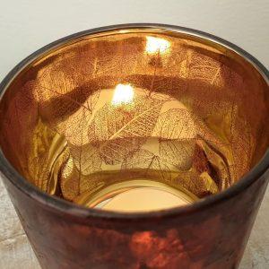 SMALL GLASS TEA LIGHT HOLDER LEAF DESIGN DETAIL