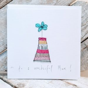 WONDERFUL MUM, EMBROIDERED MOTHER'S DAY CARD