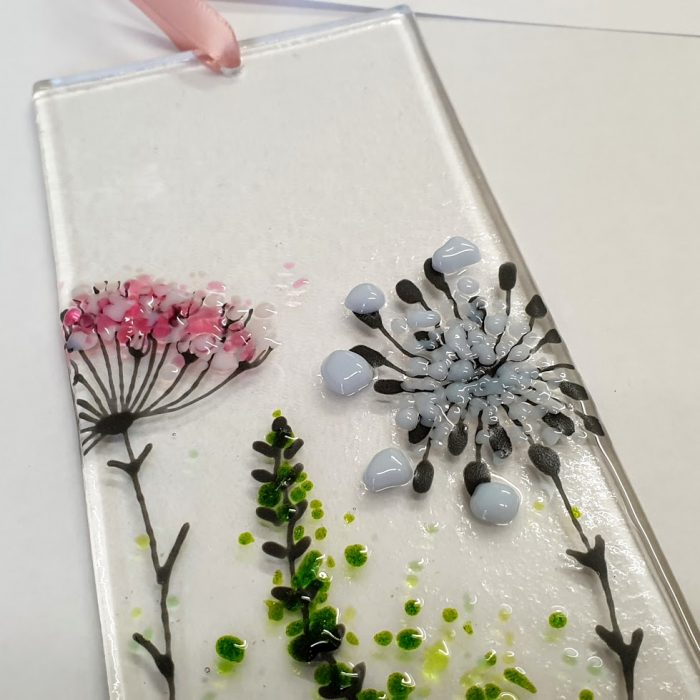 FUSED GLASS WALL HANGING WILD FLOWERS DETAIL