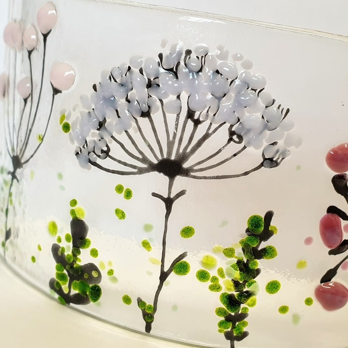 NEW FUSED GLASS PANEL WILD FLOWERS DETAIL 2