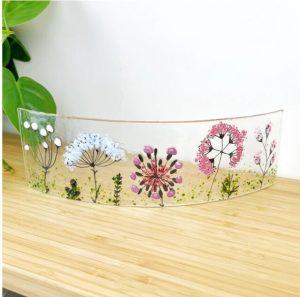 NEW FUSED GLASS PANEL WILD FLOWERS