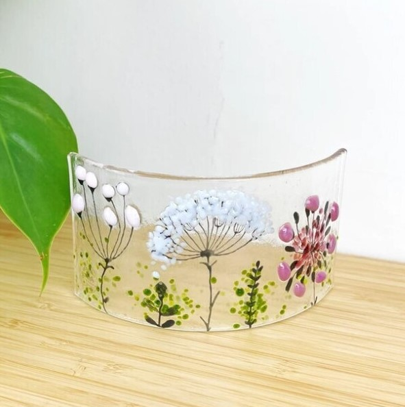 NEW SMALL FUSED GLASS PANEL WILD FLOWERS