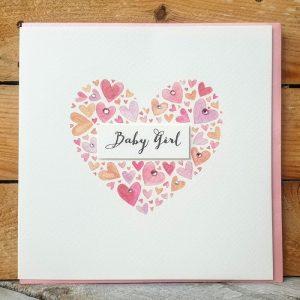 BABY GIRL HEART CARD