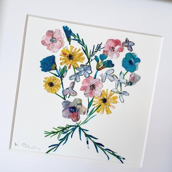 FRAMED ORIGINAL FLOWER HEART DETAIL