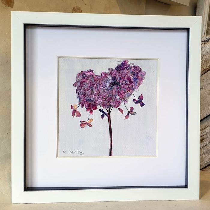 FRAMED ORIGINAL HYDRANGEA HEART