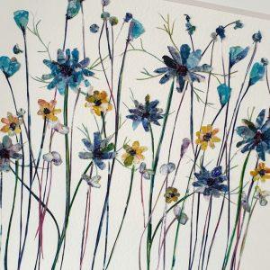 FRAMED ORIGINAL LARGE BLUE FLOWERFIELD DETAIL
