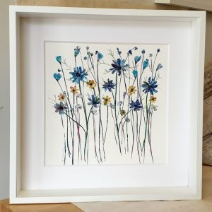 FRAMED ORIGINAL LARGE BLUE FLOWERFIELD