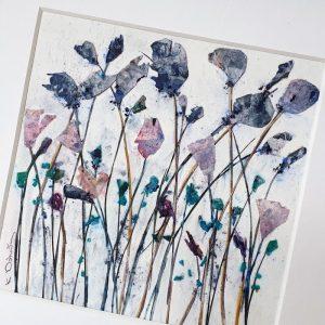 FRAMED ORIGINAL PURPLE FLOWER FIELD DETAIL