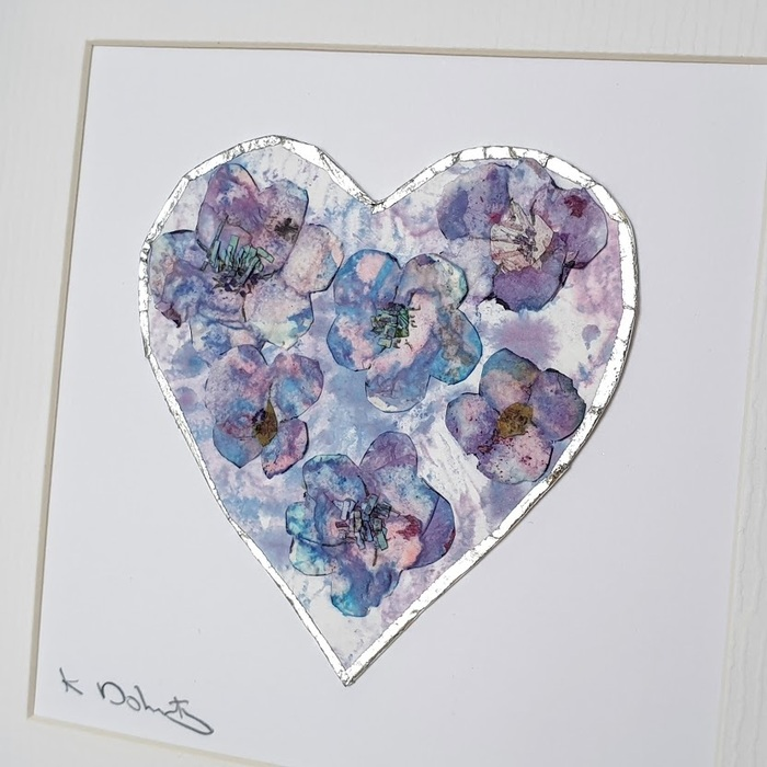 FRAMED ORIGINAL PURPLE FLOWER HEART DETAIL