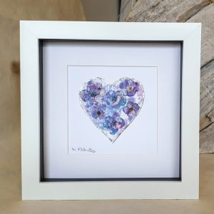 FRAMED ORIGINAL PURPLE FLOWER HEART