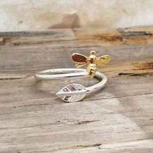 ADJUSTABLE STERLING SILVER BEE AND LEAF RING