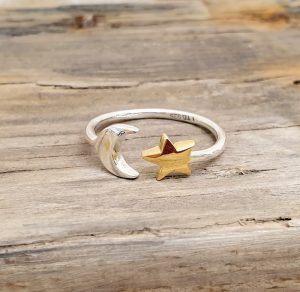 ADJUSTABLE STERLING SILVER MOON AND STAR RING