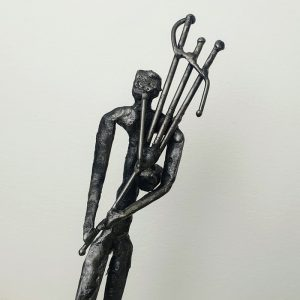 METAL FIGURE, BAGPIPER DETAIL