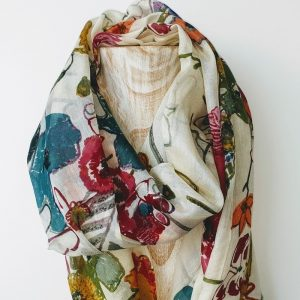 PRINTED SCARF ABSTRACT FLORAL DETAIL