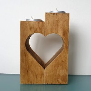 SET OF TWO CUT OUT HEART TEA LIGHT HOLDERS