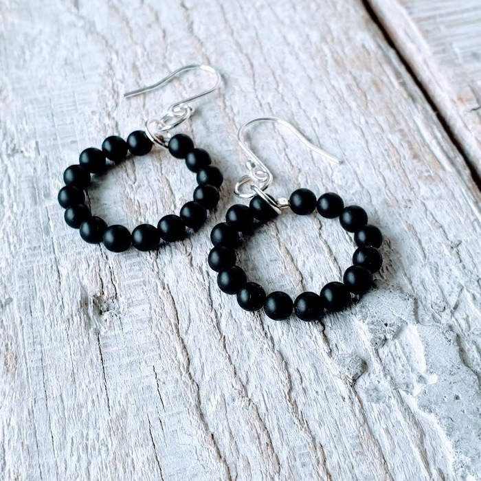 SILVER AND ONYX EARRINGS