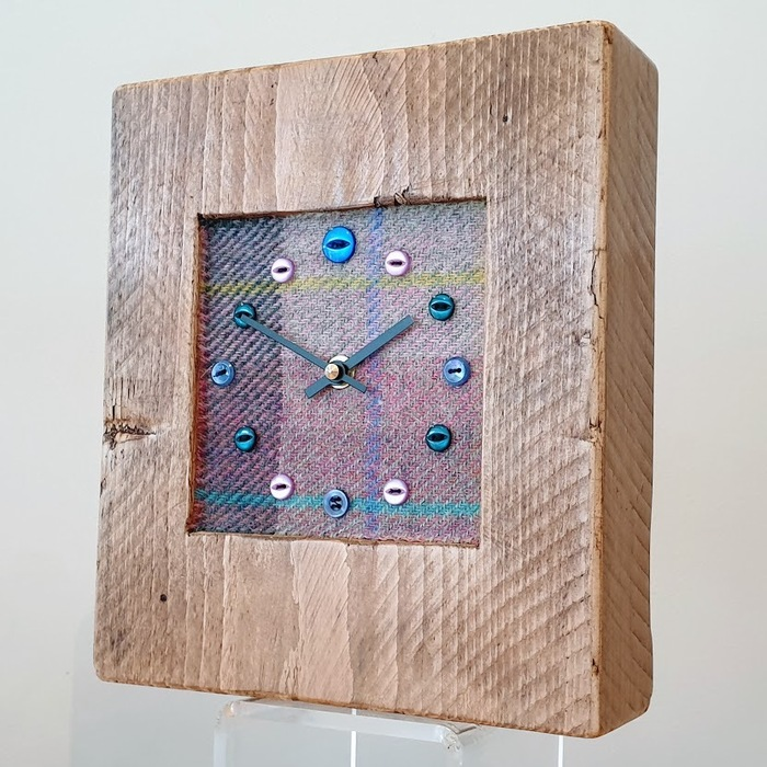 RUSTIC WOODEN CLOCK WITH HARRIS TWEED FACE DETAIL