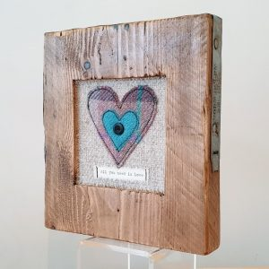 RUSTIC WOODEN FRAME WITH HARRIS TWEED APPLIQUE DETAIL