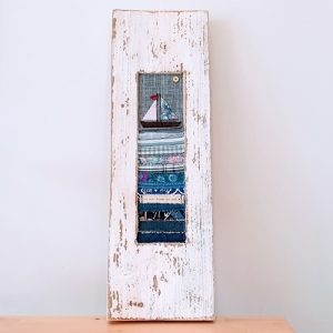 WOODEN FRAME WITH SEASCAPE FABRIC APPLIQUE