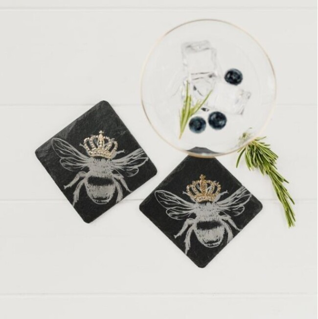 SET OF 2 SLATE BEE COASTERS